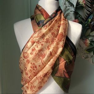 Accessories - Terracota abstract recycled pure silk scarf